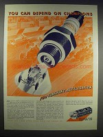 1938 Champion Spark Plugs Ad - You Can Depend On