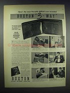 1938 Buxton 3-Way Billfold Ad - Most Versatile