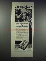 1938 Old Gold Cigarettes Ad - All Night Job?