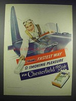 1938 Chesterfield Cigarettes Ad - Smoking Pleasure