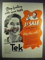 1937 Johnson & Johnson Tek Tooth Brush Ad
