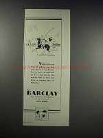 1931 The Barclay Hotel Ad - Polo Draws Its Galleries
