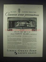 1931 Libbey-Owens Safety Glass Ad - Common Sense