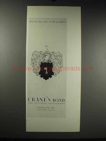 1931 Crane's Bond Paper Ad - Mark of Recognition