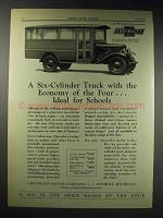 1929 Chevrolet 1 1/2 Ton Chassis School Bus Ad