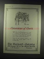 1919 The Waldorf-Astoria Hotel Ad - Convenience Guests
