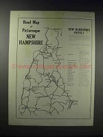 1918 Road Map of New Hampshire Ad - Picturesque