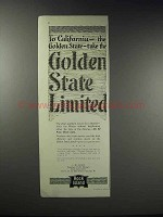1918 Rock Island Railroad Ad - Golden State Limited