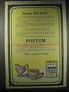1914 Postum Cereal Ad - Success Isn't Luck