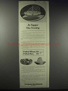 1913 Quaker Puffed Wheat & Rice Ad - At Supper