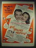 1948 Miss Tatlock's Millions Movie Ad - John Lund