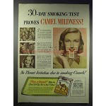1948 Camel Cigarettes Ad - 30-Day Smoking Test Proves