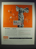 1948 Mead Papers Ad - 26 Letters and Art
