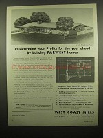 1954 West Coast Mills Farwest Homes Ad - Westward Ho