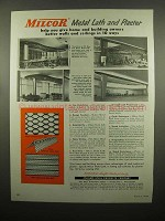 1954 Inland-Steel Milcor Metal Lath and Plaster Ad