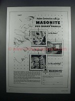 1954 Masonite Peg-Board Panels Ad - Modern Construction