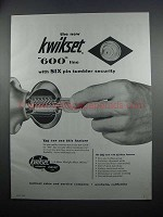 1954 Kwikset 600 Line Locksets Ad - Six Pin Tumbler