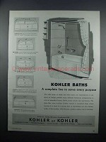 1954 Kohler Baths Ad - Cosmopolitan, Mayflower, Minocqua