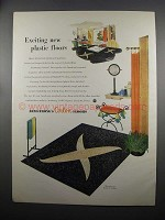 1953 Armstrong Granette Corlon Floor Ad - Exciting