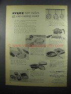 1953 Corning Pyrex Ware Ad - Makes Cooking Easier