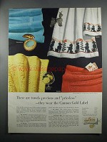 1953 Cannon Towel Ad - Suzette Carnation Duchess