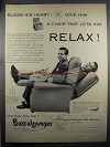 1952 BarcaLounger Chair Ad - Bless His Heart