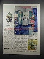 1951 Armstrong's Linoleum Floors Ad - Powder Room