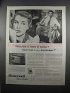 1951 Honeywell Clock Thermostat Ad - You're Grasshopper