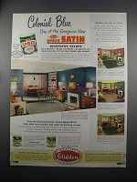1951 Glidden Spred Satin Paint Ad - Colonial Blue