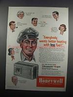1950 Honeywell TM Electric Clock Thermostat Ad