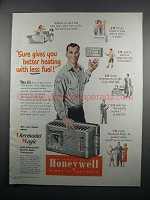 1950 Honeywell TM Electric Clock Thermostat Ad - Less Fuel