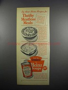 1949 Heinz Soups Ad - Savory Baked Lima Beans