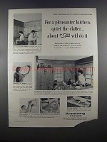 1955 Armstrong Cushiontone Ceiling Ad - Quiet Clatter