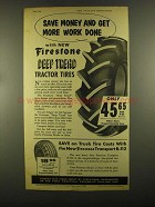 1955 Firestone Deep Tread Tractor Tires Ad - Save Money