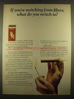 1964 White Owl Tips Cigars Ad - Switching from Filters