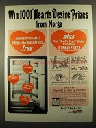 1964 Norge Refrigerator Ad - 1001 Heart's Desire Prizes