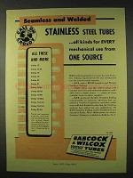 1947 Babcock & Wilcox Stainless Steel Tubes Ad