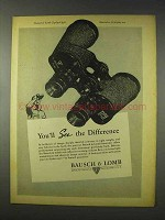 1947 Bausch & Lomb Binocular Ad - See Difference