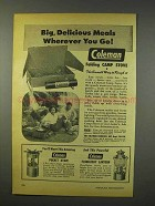 1947 Coleman Folding Camp Stove Ad - Delicious Meals