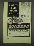 1947 Whizzer Motorcycle Ad - Ride it And You'll Buy It