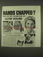 1943 Noxzema Skin Cream Ad - Hands Chapped?