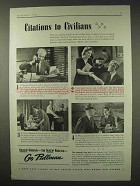 1942 Pullman Railroad Car Ad - Citations to Civilians