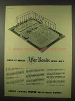 1942 WWII War Bonds Ad - Here is What Will Buy