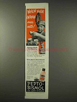 1942 Pepto-Bismo Medicine Ad - When Indian Over Eats