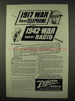 1942 Zenith Radio Ad - War Run By Radio