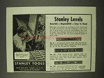 1942 Stanley Tools Ad - Levels No. 0, 23, 257