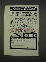 1941 Arkansas Tourism Ad - Bargains in Mountains
