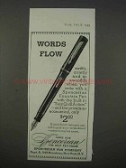 1935 Spencerian Fountain Pen Ad - Words Flow