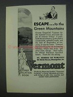 1935 Vermont Tourism Ad - Escape to Green Mountains
