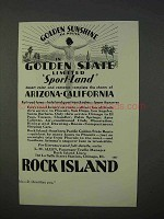 1934 Rock Island Railroad Ad - Golden Sunshine